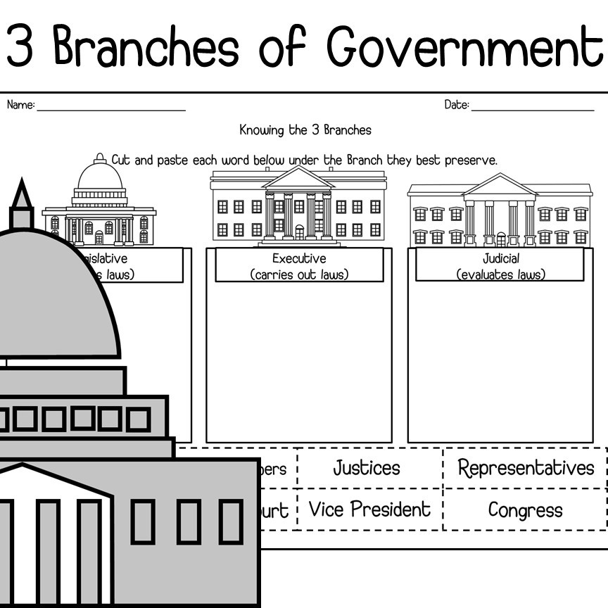 2nd Grade Government Worksheets 3 Branches Of Usa Government