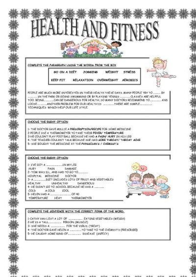2nd Grade Health Worksheets Health and Fitness
