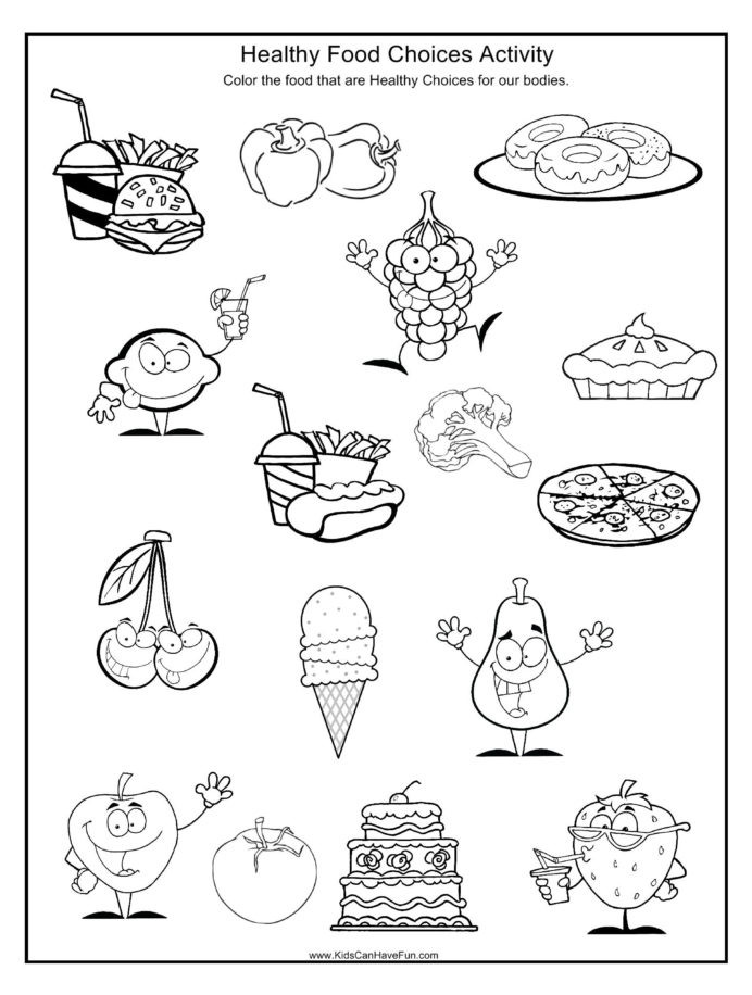 2nd Grade Health Worksheets Healthy and Unhealthy Eating Worksheet Printable Worksheets