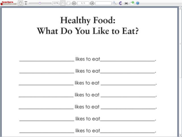 2nd Grade Health Worksheets Healthy Food What Do You Like to Eat Worksheet for 2nd