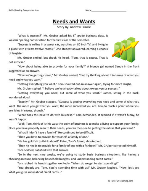 needs and wants fifth grade reading prehension worksheet 500x648