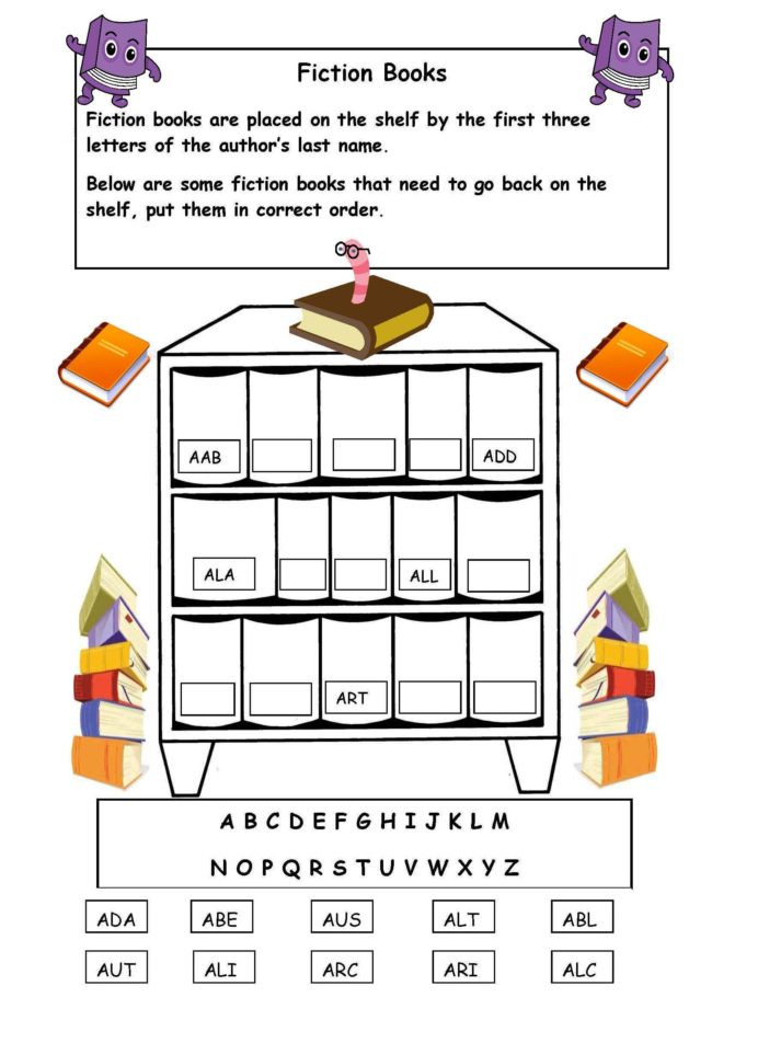 3rd Grade Library Skills Worksheets Alphabetical order the Shelf Worksheet with