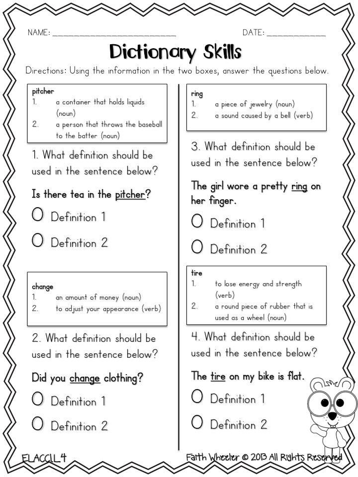 3rd Grade Library Skills Worksheets Dictionary Skills Freebie Pick the Correct Definition