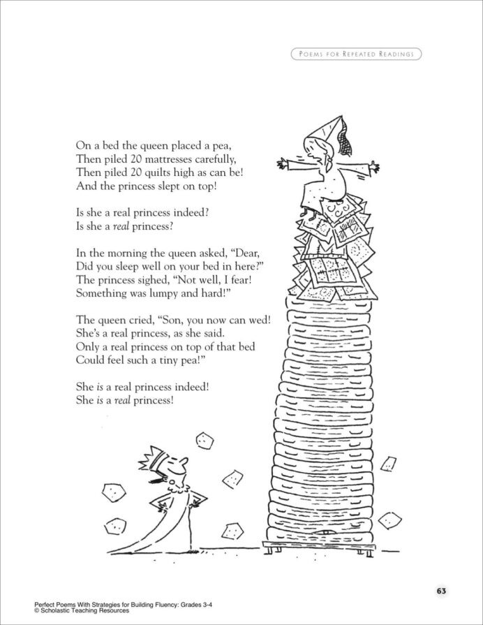 3rd Grade Poetry Worksheet the Princess and Pea Poem for Groups Printables Poetry