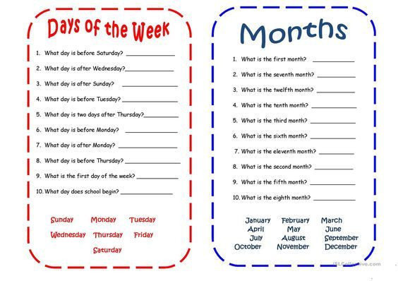 3rd Grade Spanish Worksheets Days and Months Spanish Language Learning the Week Free