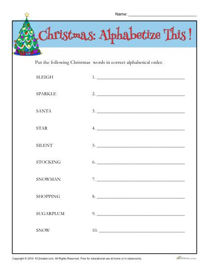 4th Grade Alphabetical order Worksheets Christmas Words Activity
