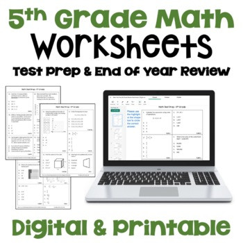 5th Grade Test Prep Worksheets Math Test Prep 5th Grade Review Worksheets