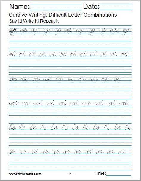 cursive writing difficult letter binations 4