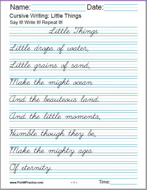 cursive writing little things