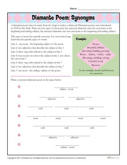 6th Grade Poetry Unit Worksheets Diamante Poem Synonyms
