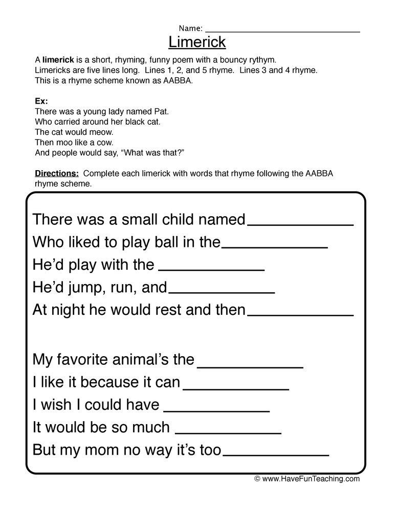 6th Grade Poetry Unit Worksheets Limerick Fill In the Blank Worksheet