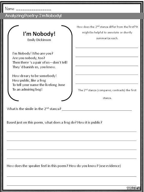 6th Grade Poetry Unit Worksheets Poetry Analysis