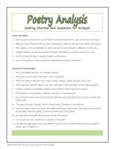 6th Grade Poetry Unit Worksheets Poetry Analysis Questions Plus Many Other Free Printables