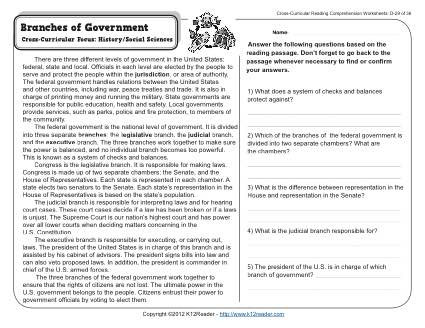7th Grade Civics Worksheets Branches Of Government