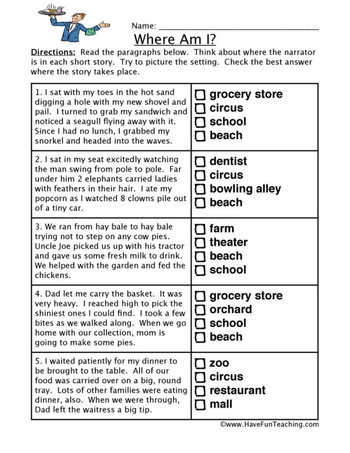 7th Grade Inference Worksheets Locations Inferences Worksheet Have Fun Teaching Inference