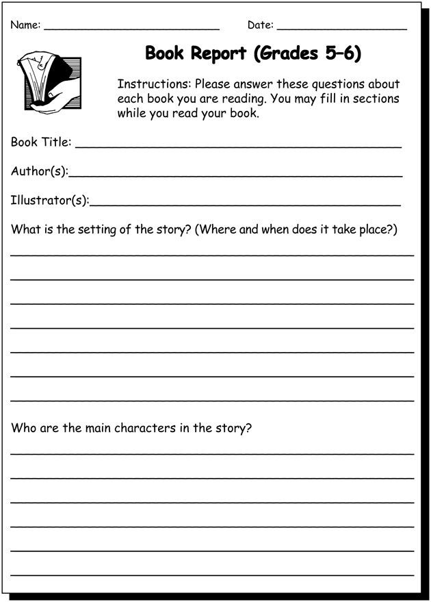 7th Grade Writing Worksheets Pdf Book Report Writing Practice Worksheet for 5th and 6th Grade