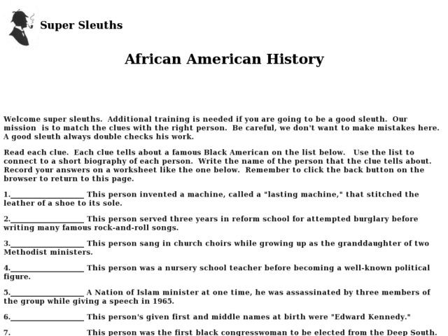 9th Grade History Worksheets African American History Worksheet for 7th 9th Grade