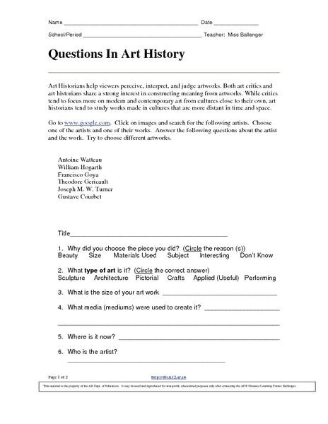 9th Grade History Worksheets Questions In Art History 9th 12th Grade Worksheet