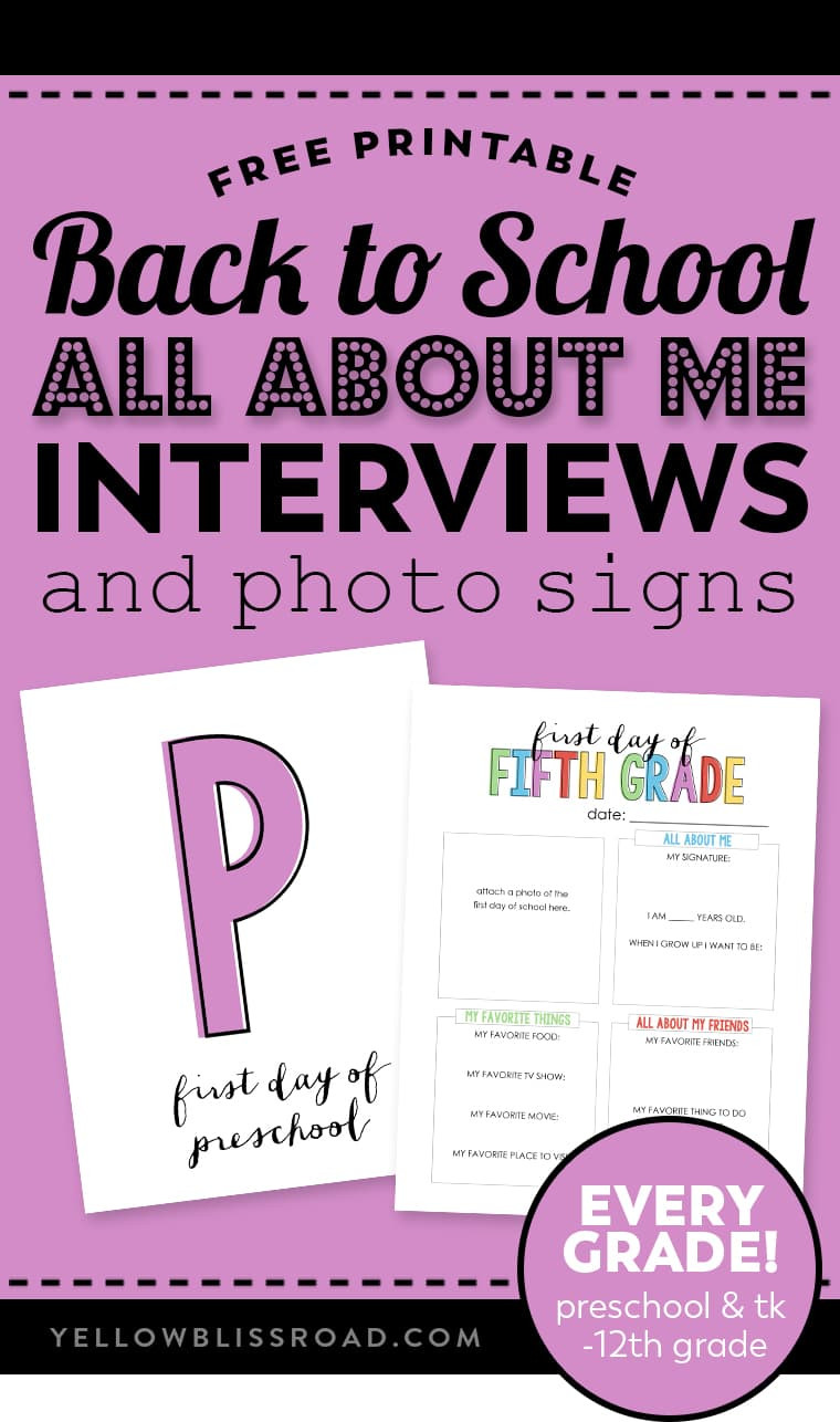 "About Me Worksheet High School Back to School ""all About Me"" Free Printable"