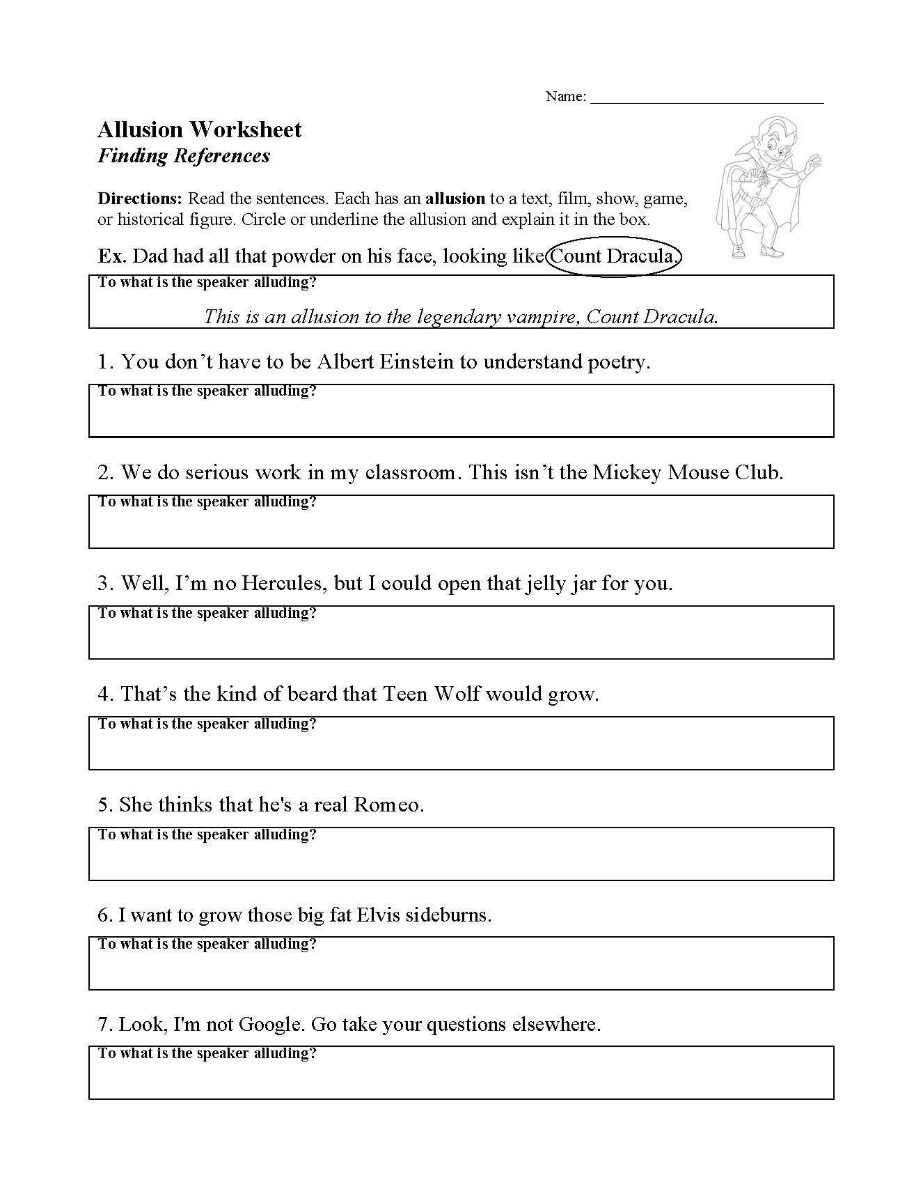 Allusion Worksheet High School Allusion Worksheet for Middle School Literary Circles