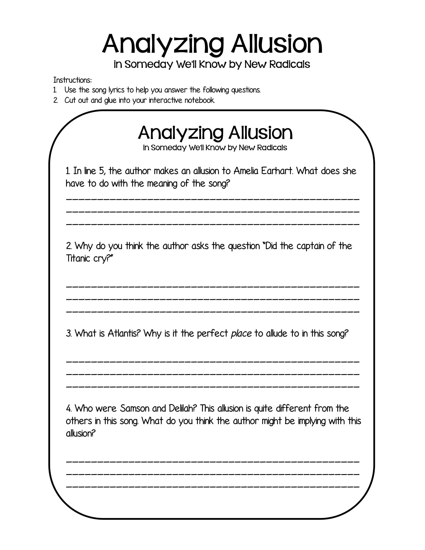 Allusion Worksheet High School Allusion Worksheets