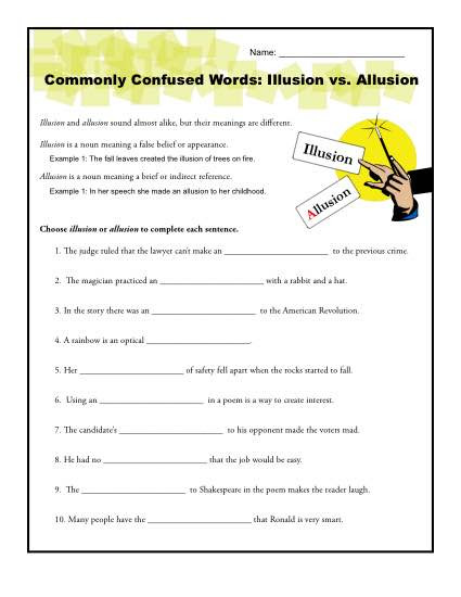 Allusion Worksheet High School Illusion Vs Allusion Worksheet