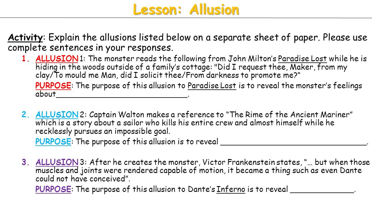 Allusion Worksheet High School Worksheets Activities Rime the Ancient Mariner