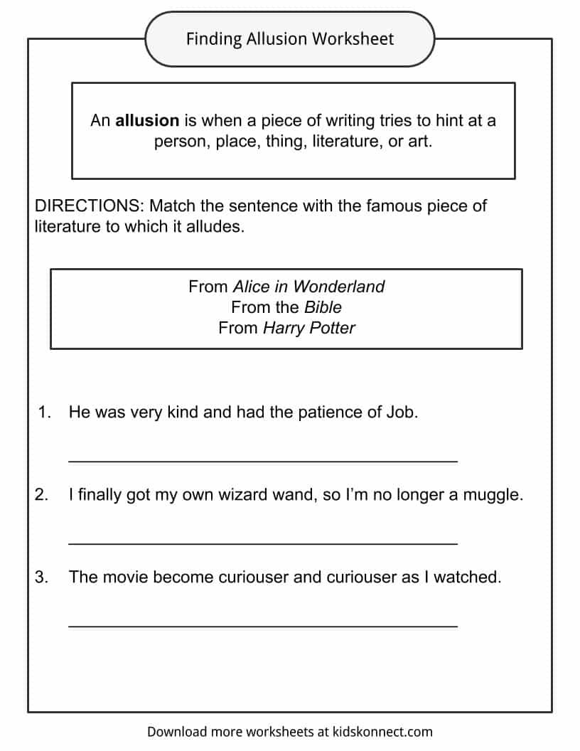 Allusion Worksheets High School Allusion Examples Definition and Worksheets