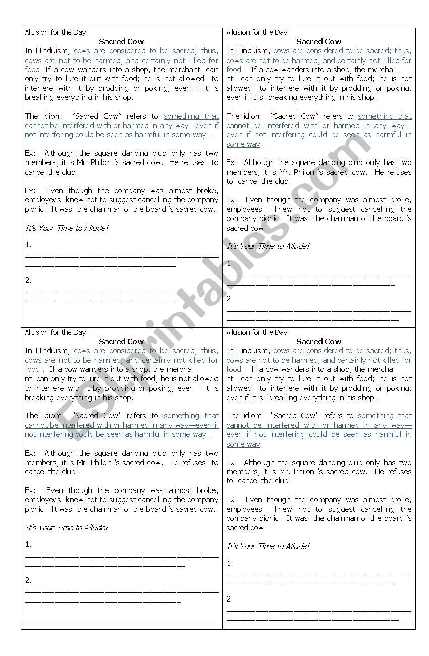 Allusion Worksheets High School Allusion Figure Of Speech Worksheet for Grade 10 Fourth