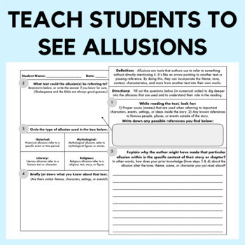 Allusion Worksheets High School Allusion Graphic organizer and Worksheet for Any Text Distance Learning Ccss