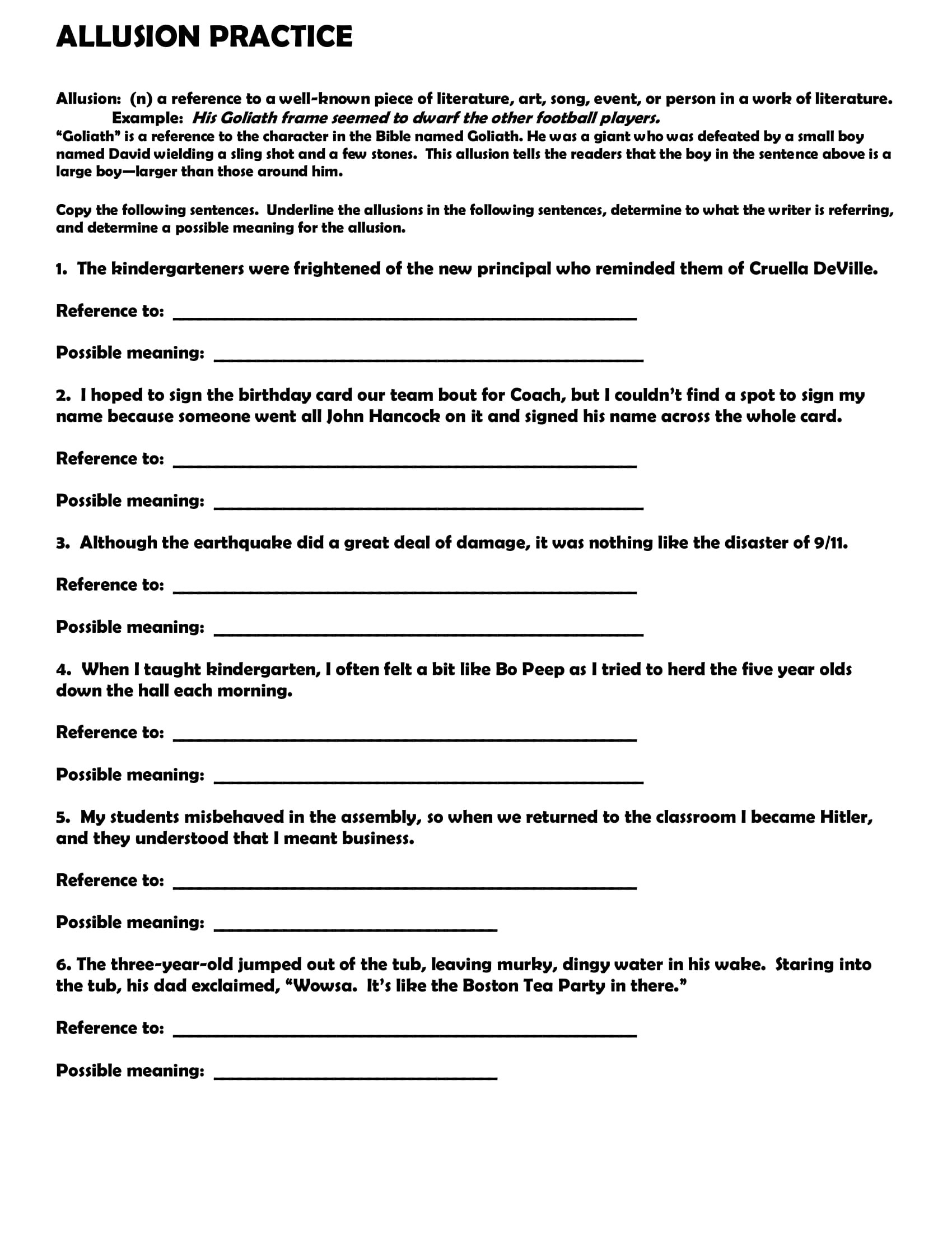 Allusion Worksheets High School Allusion Worksheets