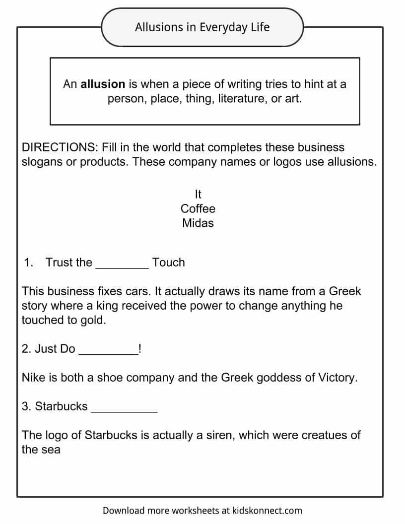 Allusion Worksheets High School Image Result for Allusion Worksheet
