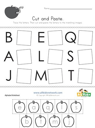 Alphabet Cut and Paste Worksheets Cut and Paste Letter Matching Worksheet