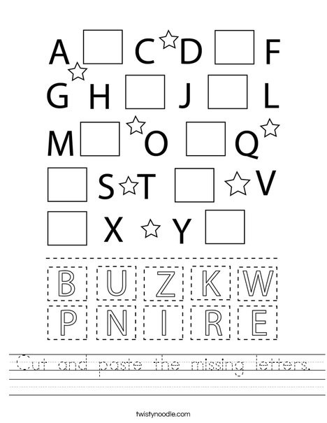 Alphabet Cut and Paste Worksheets Cut and Paste the Missing Letters Worksheet Twisty Noodle