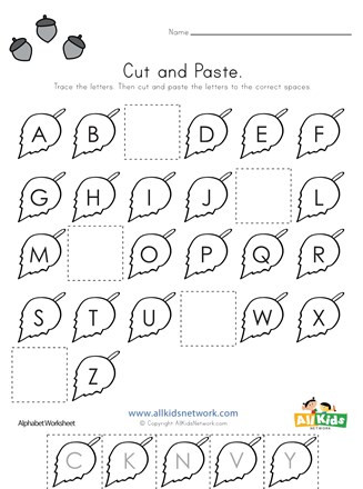 Alphabet Cut and Paste Worksheets Fall Cut and Paste Missing Letters Worksheet