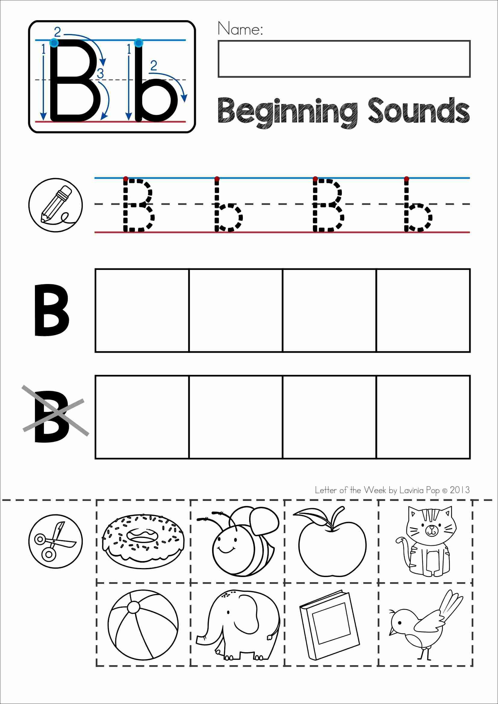 Alphabet Cut and Paste Worksheets Free Back to School Alphabet Phonics Letter Of the Week B