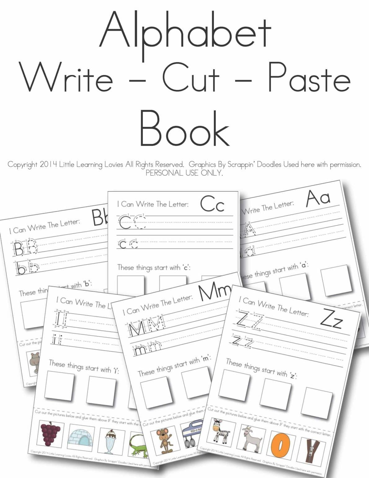 Alphabet Cut and Paste Worksheets Write Cut Paste Alphabet Set