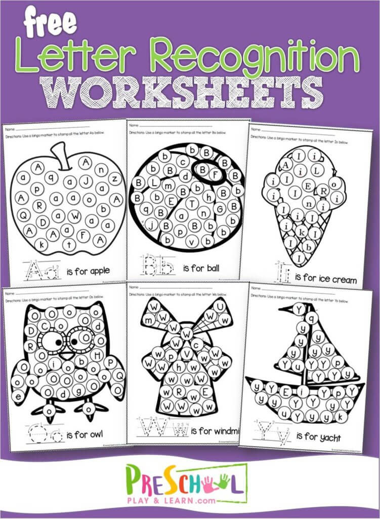 Alphabet Recognition Worksheets for Preschool Free Letter Recognition Worksheets A to Z