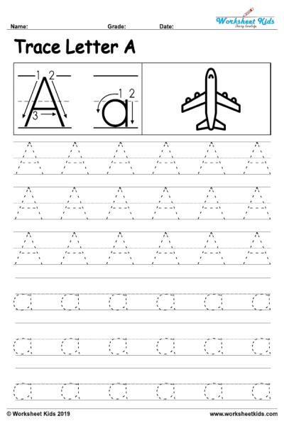 Alphabet letter A writing practice sheet 001