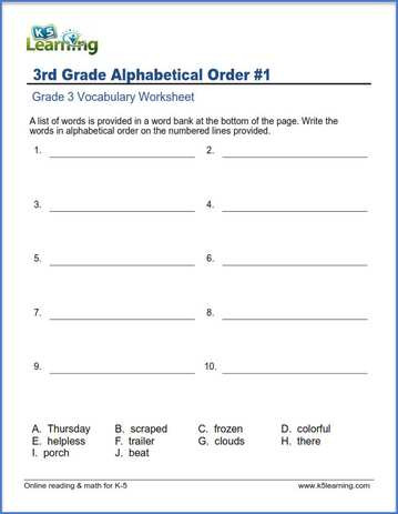 Alphabetical order Worksheet 3rd Grade Grade 3 Vocabulary Worksheets – Printable and organized by