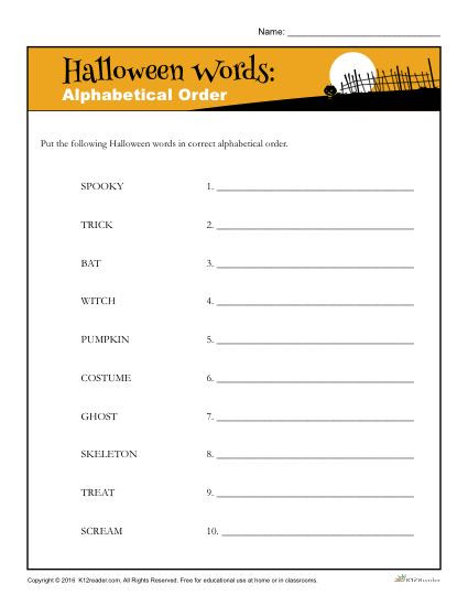 Alphabetical order Worksheets 3rd Grade Alphabetical order Halloween Words