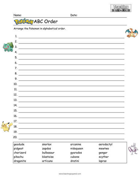 Alphabetical order Worksheets 3rd Grade Pokémon Alphabetical order Generation 2 Pokémon Teaching