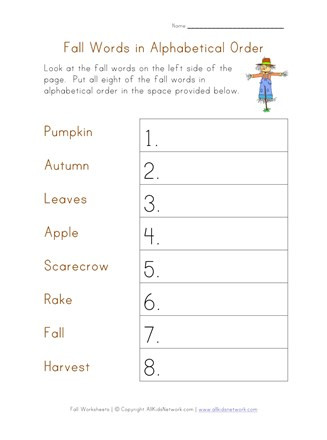 Alphabetical order Worksheets Free Alphabetical order Worksheet Fall theme