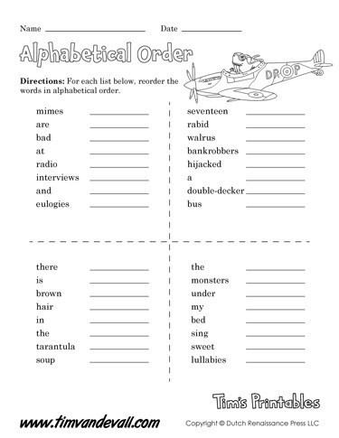 Alphabetical order Worksheets Free Printable Alphabetical order Worksheets Language Arts Pdf
