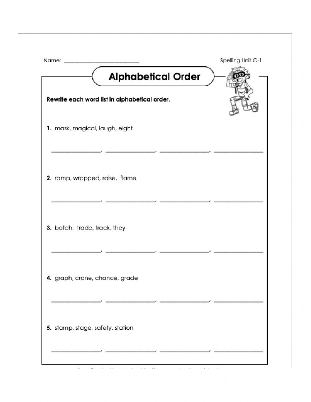 Alphabetical order Worksheets Grade 1 Alphabetical order C1 4th Worksheet