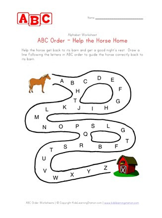 Alphabetical order Worksheets Kindergarten Abc order Maze Worksheet