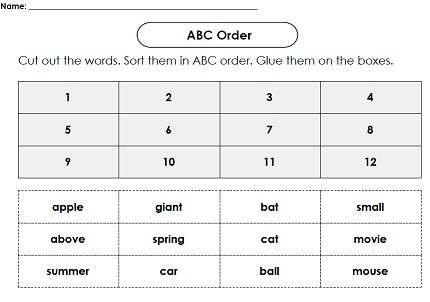 Alphabetical order Worksheets Kindergarten Abc order Worksheet Generator