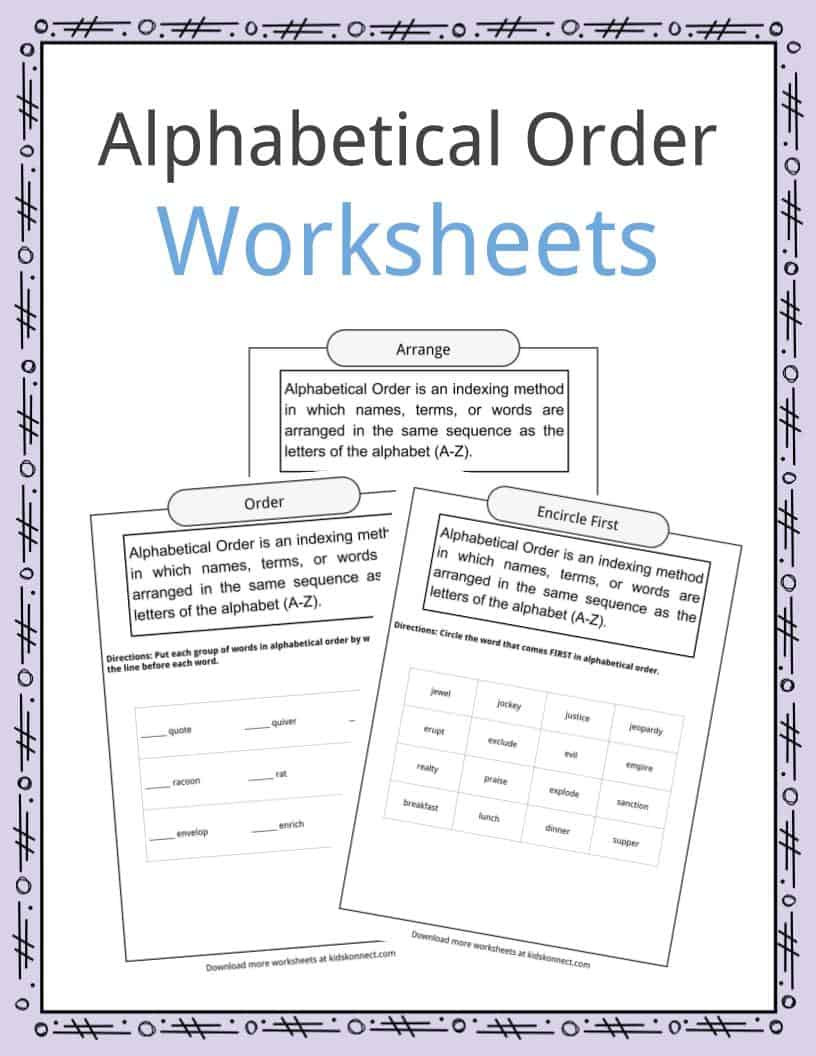Alphabetical order Worksheets Kindergarten Alphabetical order Worksheets Examples & Definition