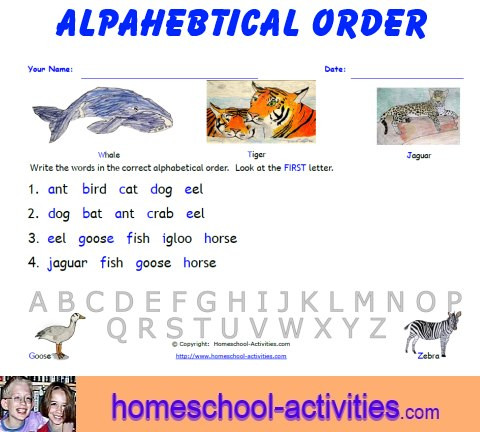 Alphabetical order Worksheets Kindergarten Free Alphabetical order Worksheets Printable Homeschooling Fun