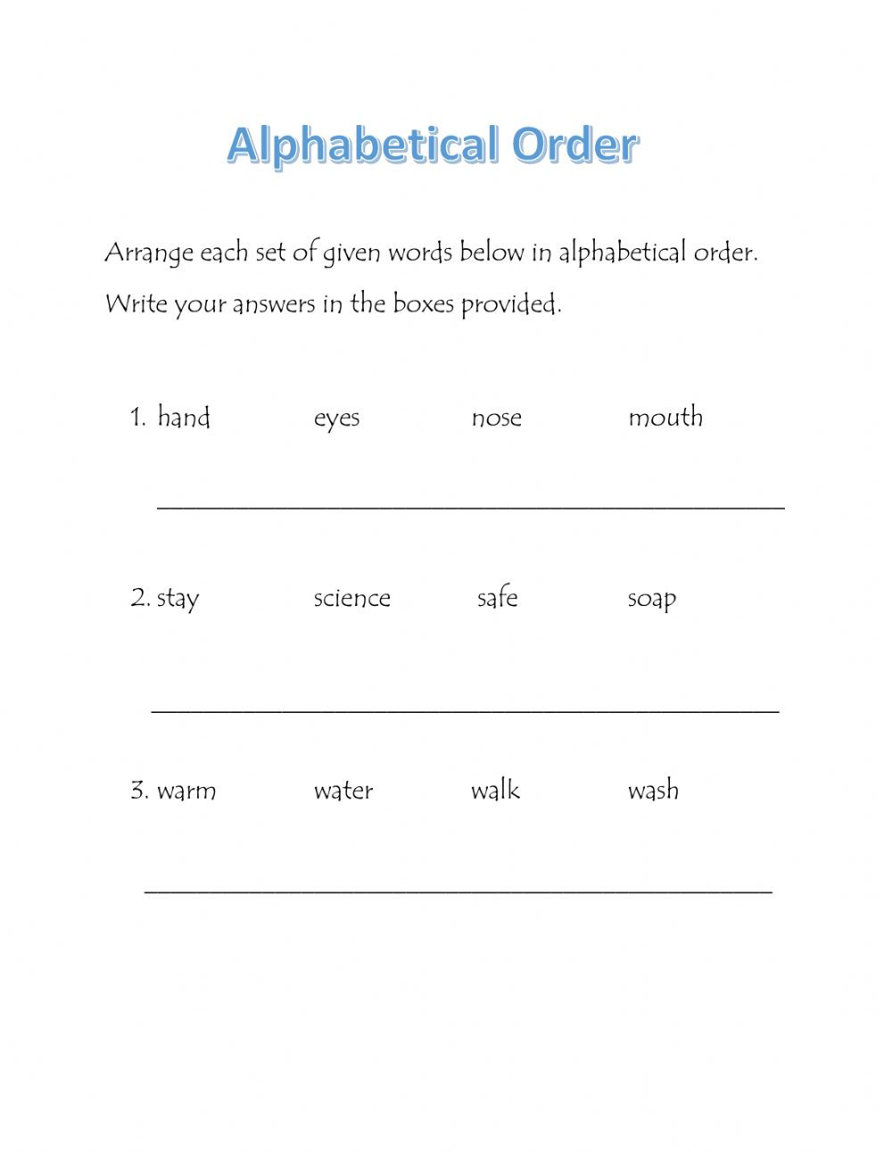 Alphabetizing Worksheets for Grade 1 Alphabetical order Interactive Worksheet